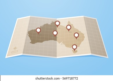 Vintage map of Australia and location markers vector illustration in flat style