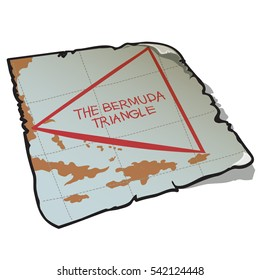 Vintage map of the Bermuda triangle on the piece of faded old paper with torn edges. Vector illustration.