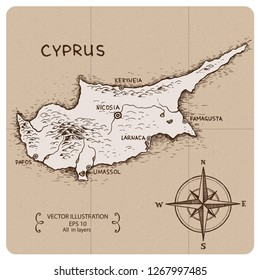 Vintage Map of Cyprus. Hand drawn vector illustration.