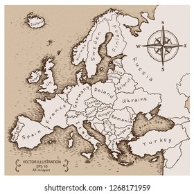 Vintage Map of Europe. Hand drawn vector illustration.