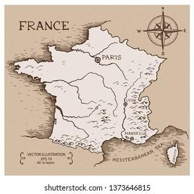 Vintage Map of France. Hand drawn vector illustration.