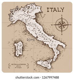 Vintage Map of Italy. Hand drawn vector illustration.