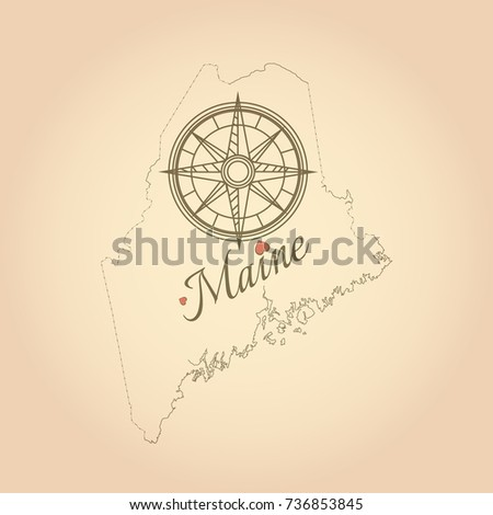 Vintage Map Maine United States Map Stock Vector (Royalty Free ...