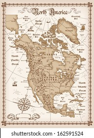 The vintage map of North America vector