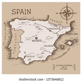 Vintage Map of Spain. Hand drawn vector illustration.