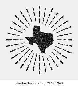 Vintage map of Texas. Grunge sunburst around the us state. Black Texas shape with sun rays on white background. Vector illustration.