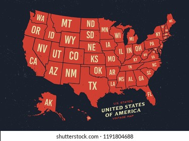 Vintage map of United States of America 50 states vector map isolated on dark background.
