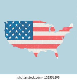 vintage map of united states of America vector