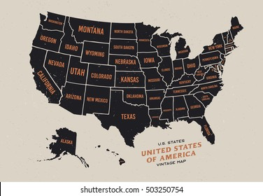 Vintage Map United States America 50 Stock Vector 503250754 ...