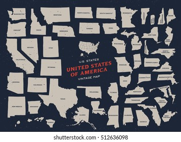 Vintage map of United States of America 50 states vector map with name of each states isolated on dark background.