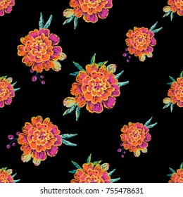 Vintage marigold flowers seamless pattern. Bright traditional illustration on black background for fabric design in watercolor style.