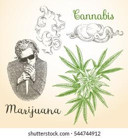 Vintage Marijuana and smoke vector. Set 1