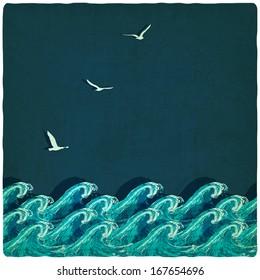 Vintage marine background - vector illustration