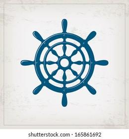 Vintage marine card with steering wheel