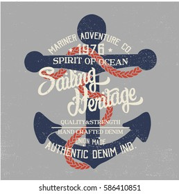 vintage marine concept tee print design as vector