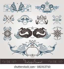 vintage marine engraving labels with mermaid