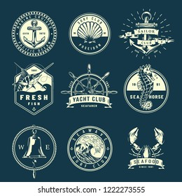 Vintage marine labels collection with shell ship bell helm seahorse marlin lobster sea wave in monochrome style isolated vector illustration