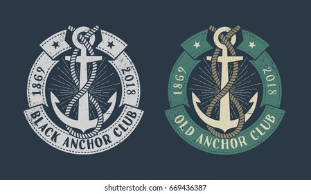 Vintage marine logo with anchor, banner and inscriptions. Monochrome and color versions on dark background. Worn texture on separate layer and can be disabled.