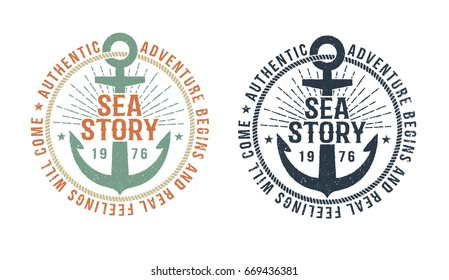 Vintage marine logo, tattoo with anchor and inscription sea story. Monochrome and color version. Worn texture on a separate layer and can be disabled.
