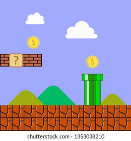 vintage Mario videogame background vector illustration with the coins