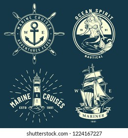Vintage maritime and sea emblems set with anchor ship wheel mermaid lighthouse on blue background isolated vector illustration