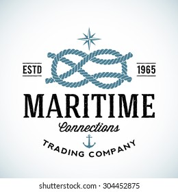 Vintage Maritime Trading Company Vector Logo Template with Shabby Texture. Isolated.