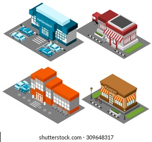 Vintage market store street view with modern supermarket shopping mall isometric icons set abstract isolated vector illustration