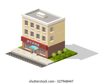Vintage market store street view with modern supermarket shopping mall isometric icons set abstract isolated vector illustration. Vector icon