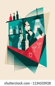 Vintage Martini Cocktail barman - Cubism artwork
