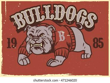 Vintage mascot of bulldog