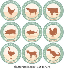 Vintage Meat Labels with Farm Animal Icons. Retro Style Vector Set