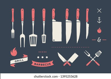 Vintage meat set. Set of meat cutting knive, fork, old school graphic elements, fire icon, grill and barbecue tools. Butcher and BBQ supplies, knife, grill fork for meat themes. Vector Illustration