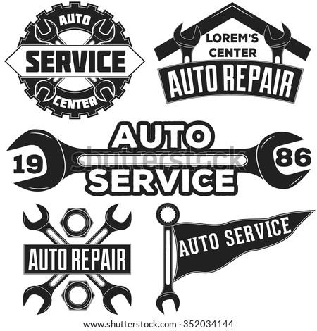 Vintage Mechanic Auto Service Repair Label Stockvector Rechtenvrij