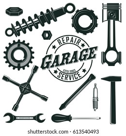 Vintage mechanic tools set with wrench spanner mesh spark plug screws hammer screwdriver cogwheels shock absorber isolated vector illustration