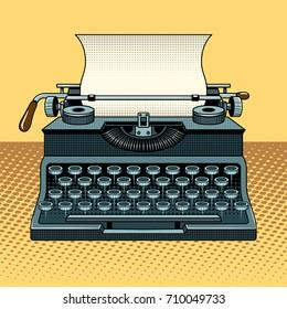 Vintage mechanic typewriter pop art style vector illustration. Comic book style imitation
