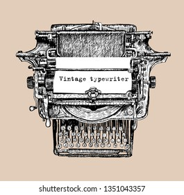 Vintage mechanical typewriter and a blank sheet of paper. Inserted drawing ink isolated.Hand Drawing Engraving Style