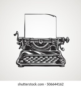 Vintage mechanical typewriter. Sketch vector illustration
