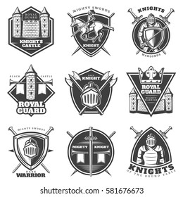Vintage medieval labels set with armored knights crossed weapons and defensive buildings isolated vector illustration