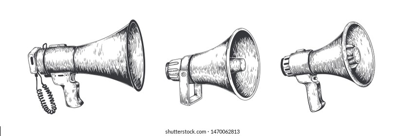 Vintage megaphone. Hand drawn loud speaker for announcements, bullhorn sketch news or public attention. Vector loudspeaker broadcast announcement set