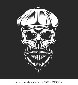 Vintage Men Skull With Flat Cap And Mustache Vector, can be used for mascot, logo, apparel and more.Editable Design