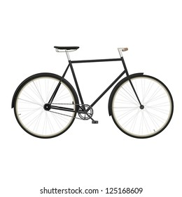 Vintage men's bicycle isolated on white background