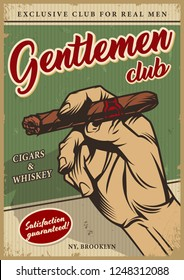 Vintage men's club colorful poster with inscriptions and male hand holding cuban cigar vector illustration