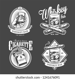 Vintage men's club logotypes with inscriptions glasses of whisky cigars cigarette pack in monochrome style isolated vector illustration
