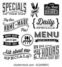 Vintage Menu Designs - Set of vintage frames and label designs. Each element is grouped and colors are global for easy editing.