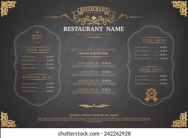vintage menu restarante chalk board design