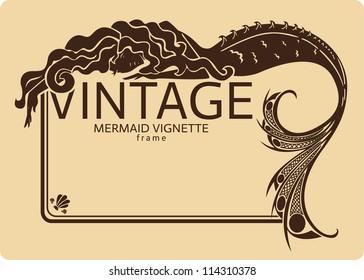 Vintage mermaid frame vignette