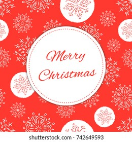 Vintage Merry Christmas card design template vector. Holiday red background with snowflakes. Season retro New Year illustration for web banner, greeting, party invites, poster.