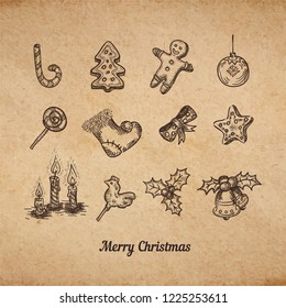 Vintage Merry Christmas card on old brown paper parchment ink sketches of traditional winter season holidays symbols as holly tree, stocking, bells, candles and candy cane vector illustration