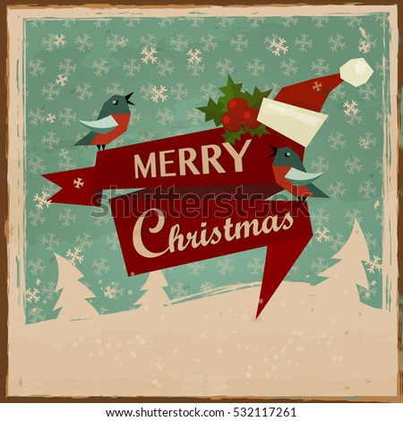 vintage merry christmas cards vector backgroundsanta claus christmas greeting card