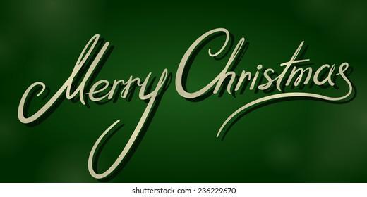 vintage merry christmas dark green banner